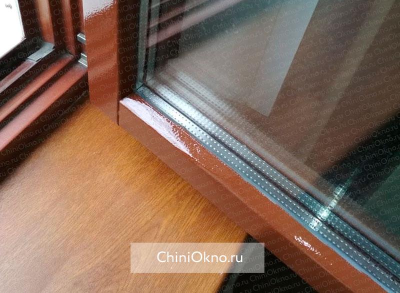 результат восстановления подоконника и деревянной оконной рамы