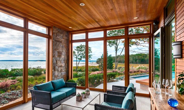 деревянные окна в пол